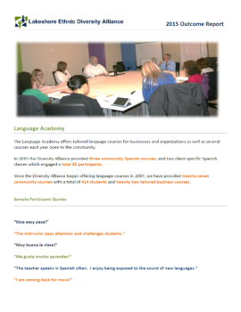 2015 Language Academy Outcome Report
